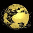 Stock Photo: Gold globe art on black background