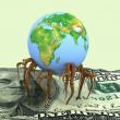 Globe germinated roots in dollar — Stock Photo #9976554