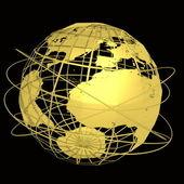 Gold globe art on the black background — Stock Photo