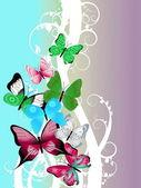 Hermosa ilustración con coloridas mariposas — Foto de Stock