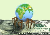 Globe germinated roots in a dollar — Stock Photo