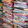 Stock Photo: Colorful moroccan rugs on the market