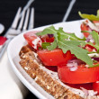 Stock Photo: Vegetarian tomato bread with cutlery