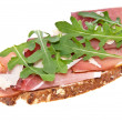 Bread with ham, Parmesand rocket salad — Stock Photo #10526214