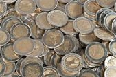 Monte de moedas de 2 euros — Foto Stock