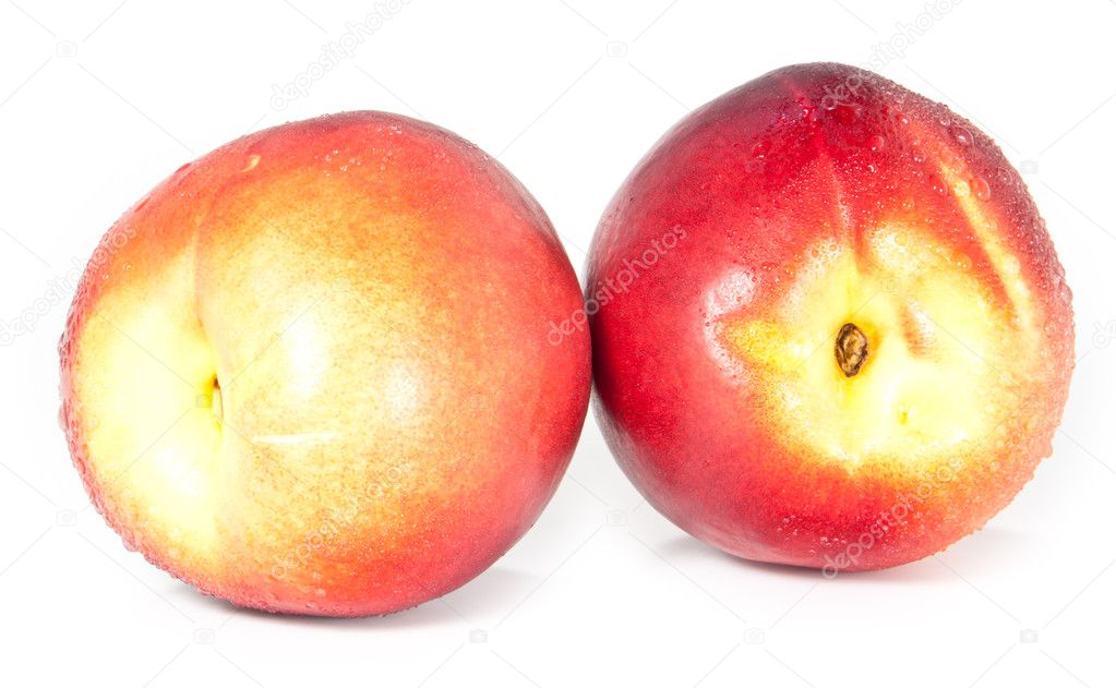 Two water wetted nectarines on white background  Stock Photo #8619512