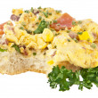 Halved roll with scrambled eggs (with clipping path) — Stock Photo #9114231
