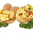Halved roll with scrambled eggs (with clipping path) - Stockfoto