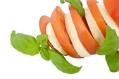 Sliced tomato with mozzarella cheese and fresh basil (with clipp — Stock Photo