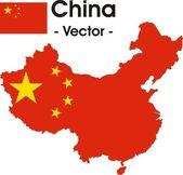 China map as vector image — Stock Vector