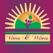 Stock Vector: Vines and wines sun logo