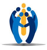 Ekip çalışması sosyal logo vektör — Stok Vektör