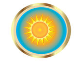 Sun with gold icon vector — Stock Vector