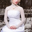 Bride in wedding dress in the winter forest — Stock Photo