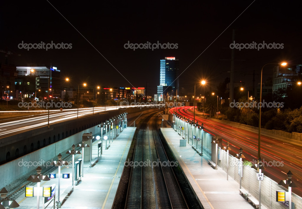 Night landscape of Tel Aviv. Railway station.  Stock Photo #9051188