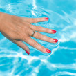 Hand on the water — Stock Photo