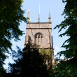 Church tower through the trees. — Stock Photo