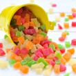 Stock Photo: Colorful candied fruits in small bucket