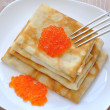 Pancakes with red caviar — Stock Photo #9158114