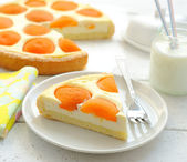 Tart with cheese and apricots — Stock Photo