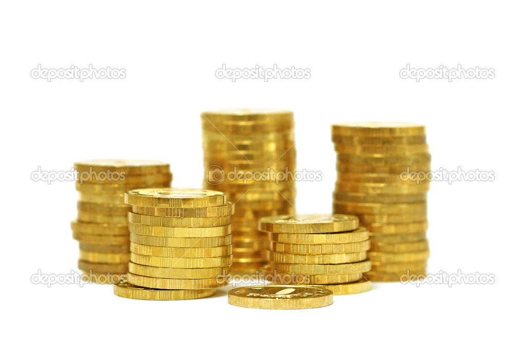 Piles of golden coins isolated on white background — Zdjęcie stockowe #10551962