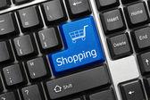 Conceptual keyboard - Shopping (blue key) — Stock Photo