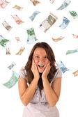 Money rain (euro banknotes) — 图库照片