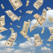 Falling dollars (sky background) - Stockfoto