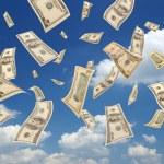 Falling dollars (sky background) — Stock Photo