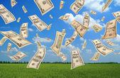 Falling dollars (field background) — Stock Photo