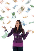 Money rain (euro banknotes) — Stock Photo