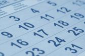 Close up of calendar (blue toned) — 图库照片