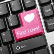 Conceptual keyboard - Find Love (pink key) - Stock Photo