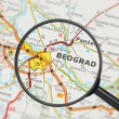 Destination - Belgrade (with magnifying glass) — Stock Photo