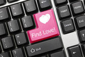 Conceptual keyboard - Find Love (pink key) — Stock Photo