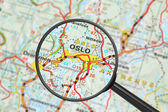 Destination - Oslo (with magnifying glass) — Stock Photo