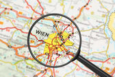 Destination - Vienna (with magnifying glass) — Foto Stock