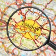 Destination - London (with magnifying glass) — Stock Photo