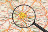 Destination - Paris (with magnifying glass) — Stock Photo