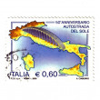 Italian stamp 50 anniversary of the Sun Highway — Stock Photo