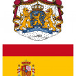Spain, flag and coat of arms - Stock Photo