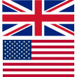 Stock Photo: Union jack and Americflag