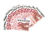Range from ten euro banknotes on a white background — Stock Photo