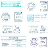 Blue european postmarks — Stock Photo