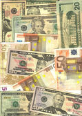 Background U$A and euro notes — Stok fotoğraf
