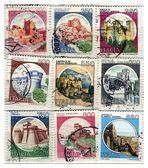 Alte italienische briefmarken, burgen — Stockfoto