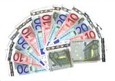 Range of banknotes; fiven ten and twenty euro — Stock Photo