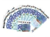 Range of 20 euro banknotes — Stock Photo