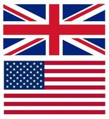 Union jack and American flag — Stock Photo