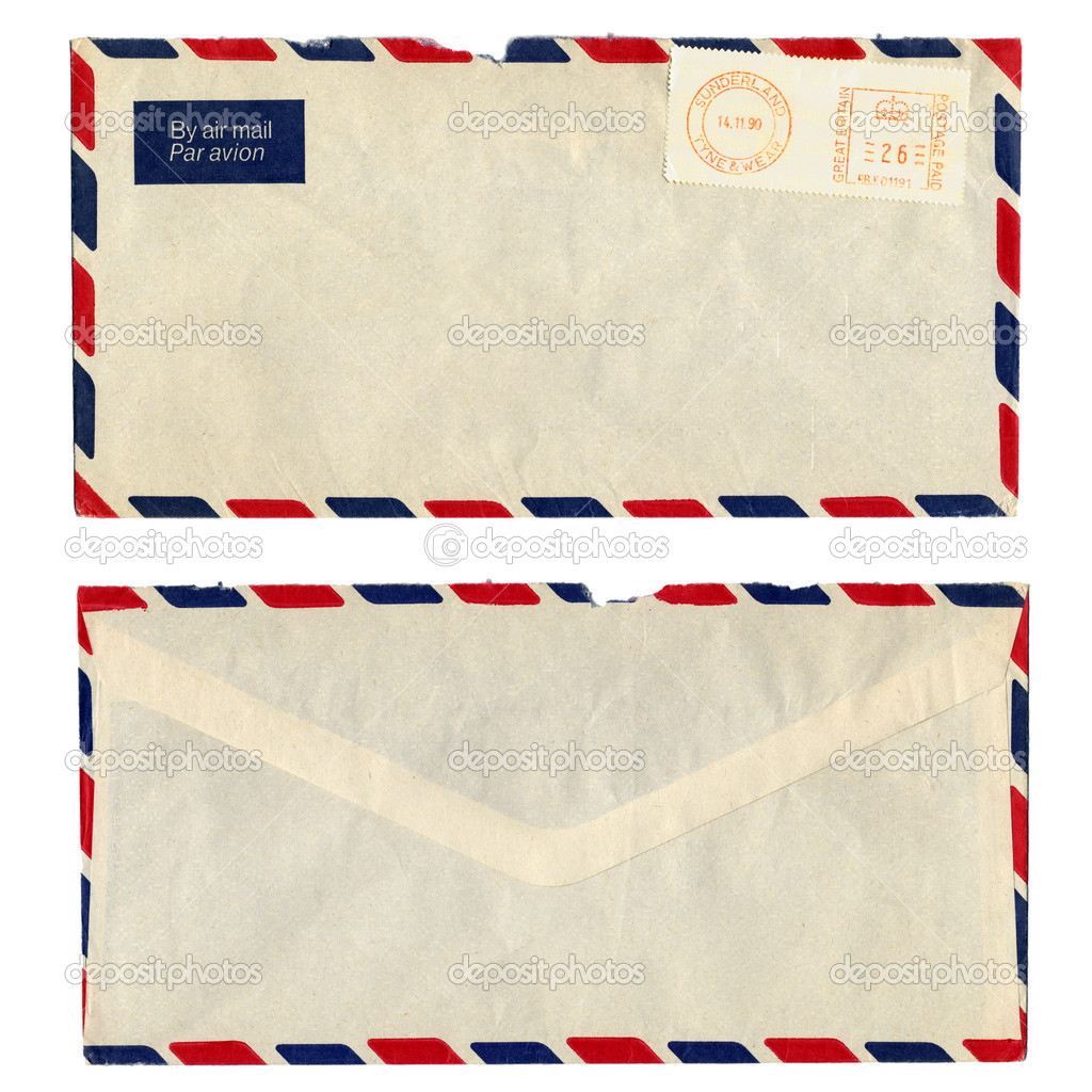 airmail letter with uk postage meter stamp stock image
